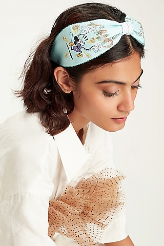 Aqua Blue Disney Mickey & Minnie Printed Knotted Headband by Hair Drama Company