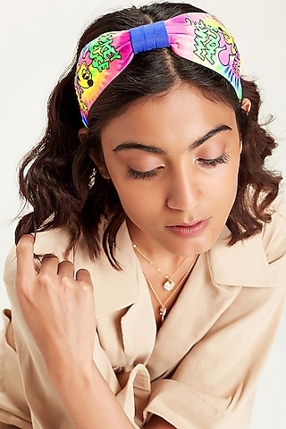 Multi Colored Disney Mickey Printed Tie-Dye Knotted Headband by Hair Drama Company