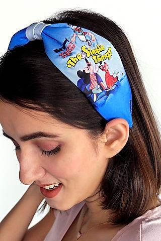 Blue Disney Mickey Printed Knotted Headband by Hair Drama Company