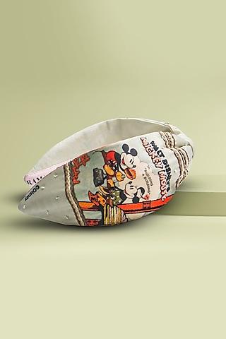 Beige Disney Mickey & Minnie Printed Knotted Headband by Hair Drama Company