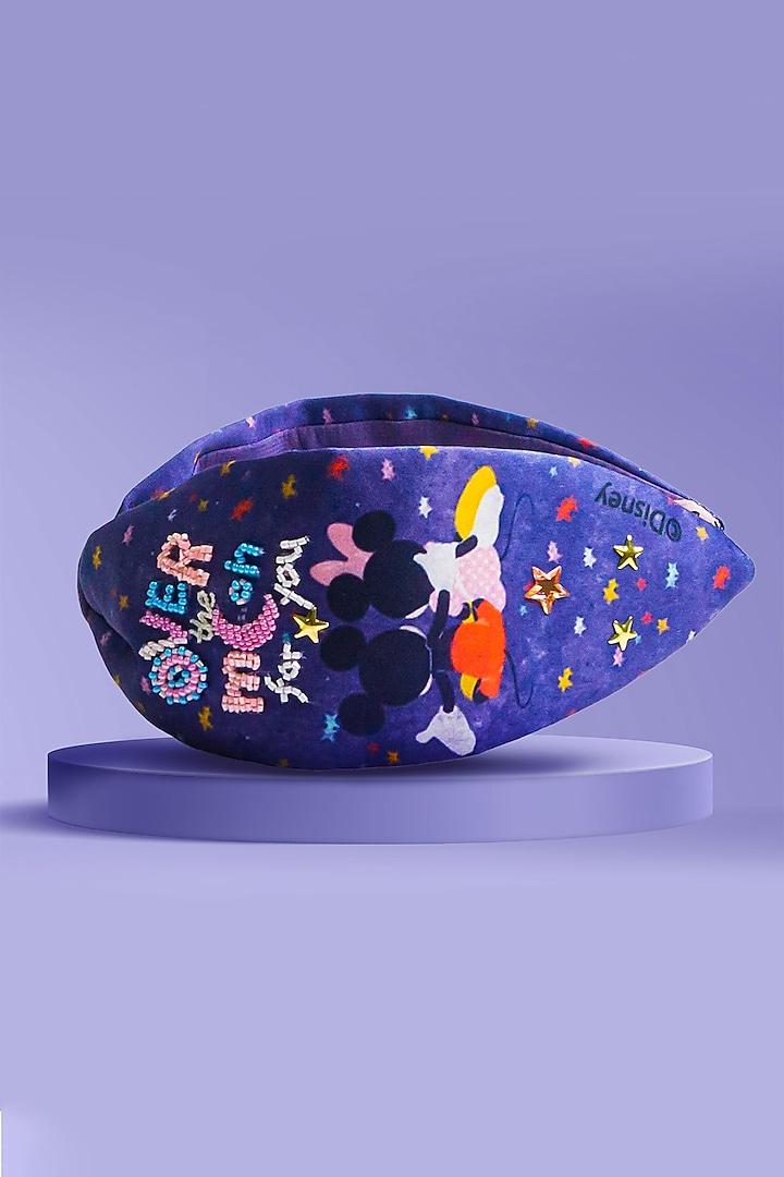 Dark Blue Disney Mickey & Minnie Printed Knotted Headband by Hair Drama Company