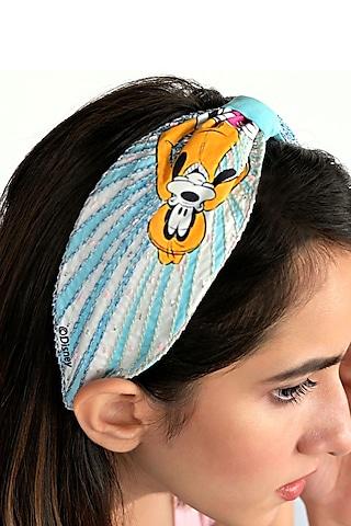 White & Blue Disney Goofy Printed Knotted Headband by Hair Drama Company