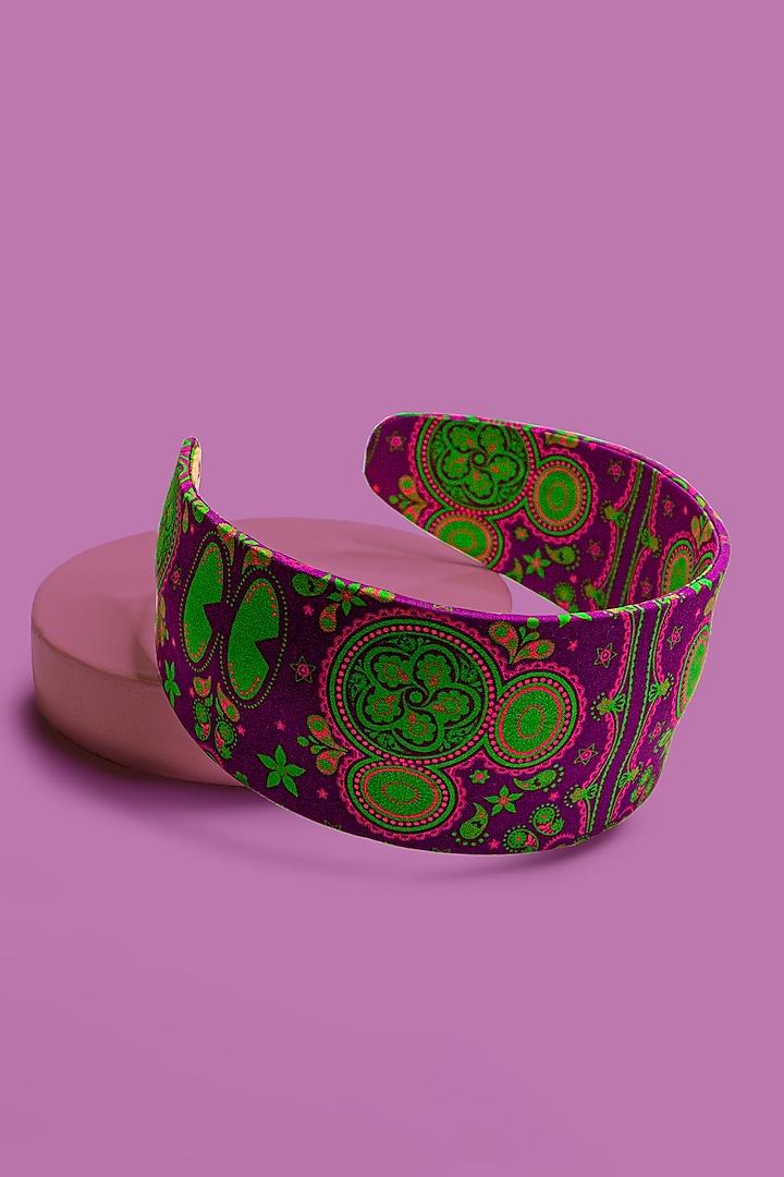 Purple & Green Disney Minnie Printed Flat Headband by Hair Drama Company
