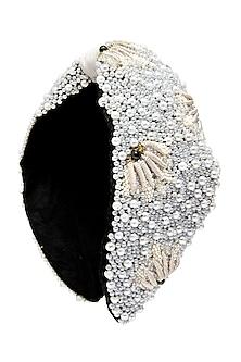 White Embroidered Headband by Hair Drama Company
