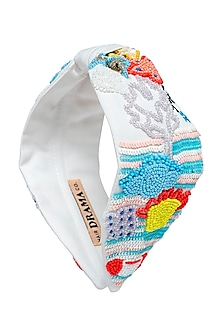 Multi Colored Hand Embroidered Headband by Hair Drama Company