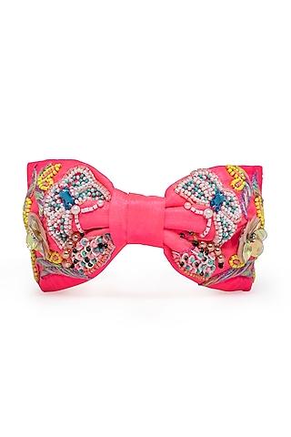 Neon Pink Embroidered Headband by Hair Drama Company