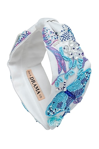 White Knotted & Embroidered Headband by Hair Drama Company