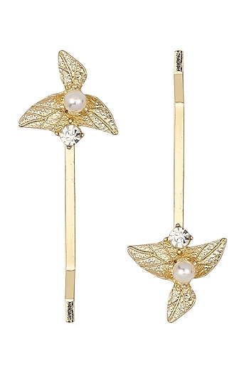 Set Of 2 Golden Leaf and Pearl Hair Pins by Hair Drama Company
