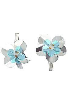 Set Of 2 Blue and Silver Flower Motif Hair Pins by Hair Drama Company