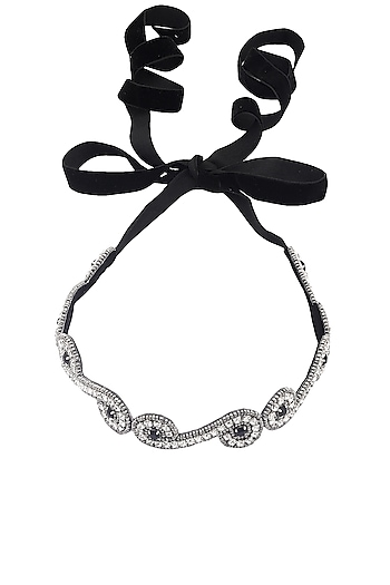 Black and Silver Beads Embellished Head Wrap by Hair Drama Company