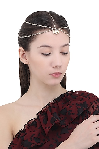 Golden Stones Embellished Multi Strand Marque Head Chain by Hair Drama Company