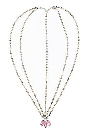 Pink Stones Embellished Multi Strand Marque Head Chain by Hair Drama Company