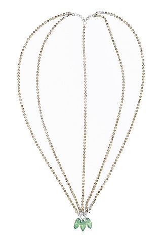 Green Stones Embellished Multi Strand Marque Head Chain by Hair Drama Company