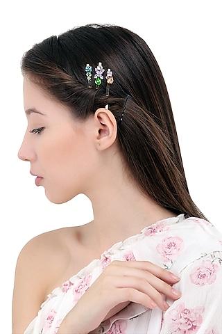 Set Of 3 Floral Motif Hair Pins by Hair Drama Company