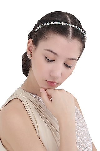Silver Head Band with Multi-Colour Stones by Hair Drama Company