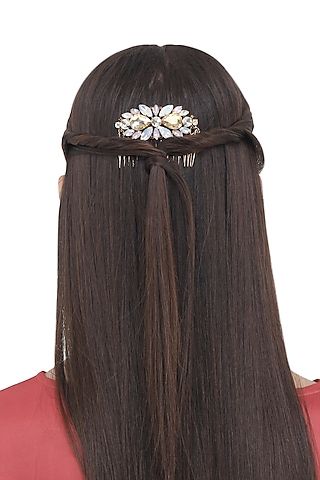 Gold and White Stones Embellished Hair Comb by Hair Drama Company