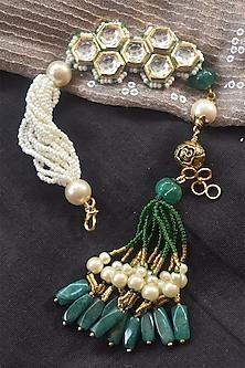 Green Kundan Lumba Rakhi by Heer-House Of Jewellery-SEND RAKHIS TO UK