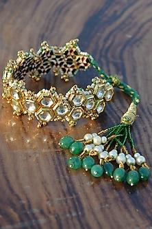 Green Pearls Lumba Rakhi by Heer-House Of Jewellery-LUMBA RAKHIS
