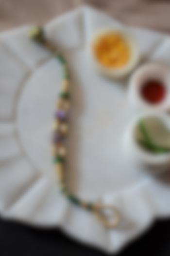 Green Handmade Kundan Polki Rakhi Bracelet by Heer-House Of Jewellery