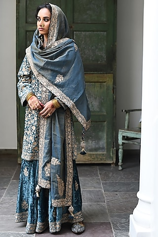 Teal Blue Zari Embroidered Kurta Set by Heena Kochhar