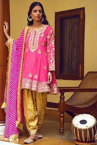 Pink & Yellow Embroidered Kurta Set by Heena Kochhar