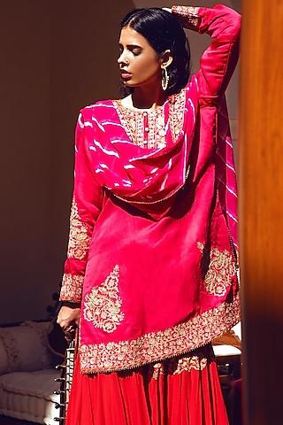 Rani Pink Embroidered Gharara Set by Heena Kochhar