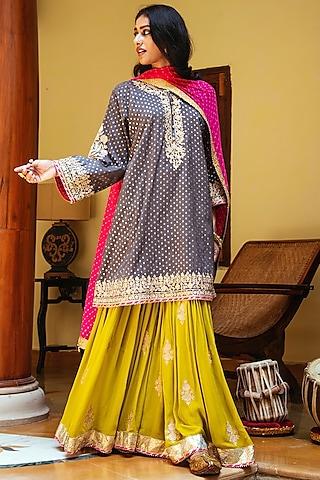 Grey & Green Embroidered Gharara Set by Heena Kochhar