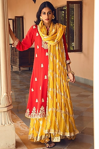 Coral & Yellow Embroidered Skirt Set by Heena Kochhar