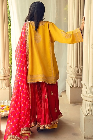 Yellow & Coral Embroidered Skirt Set by Heena Kochhar