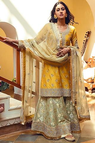 Yellow & Green Embroidered Gharara Set by Heena Kochhar