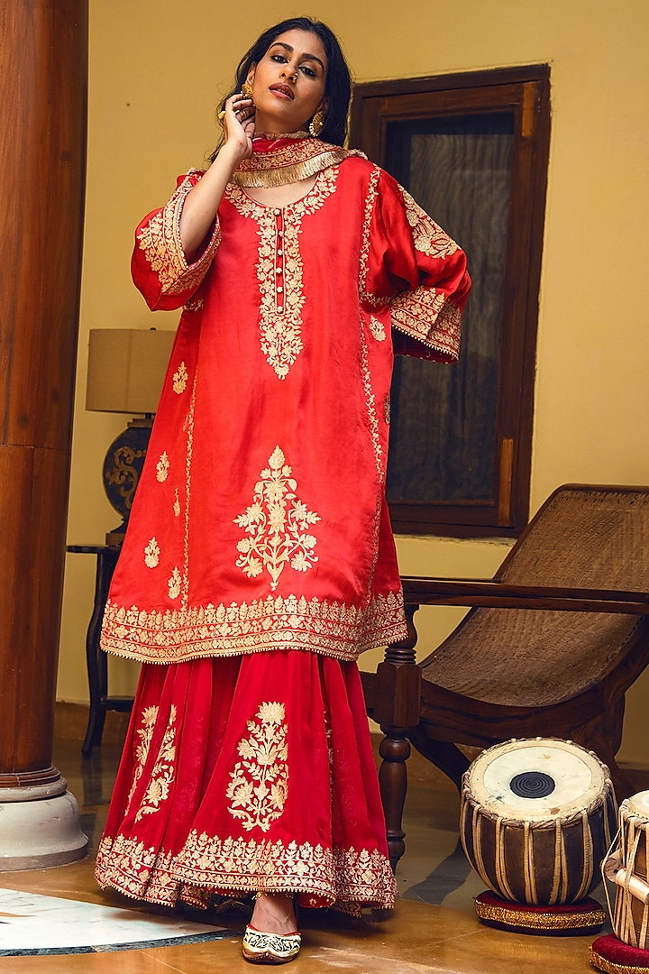 Coral & Red Embroidered Gharara Set by Heena Kochhar