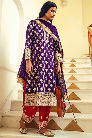 Purple Zari Embroidered Kurta Set by Heena Kochhar