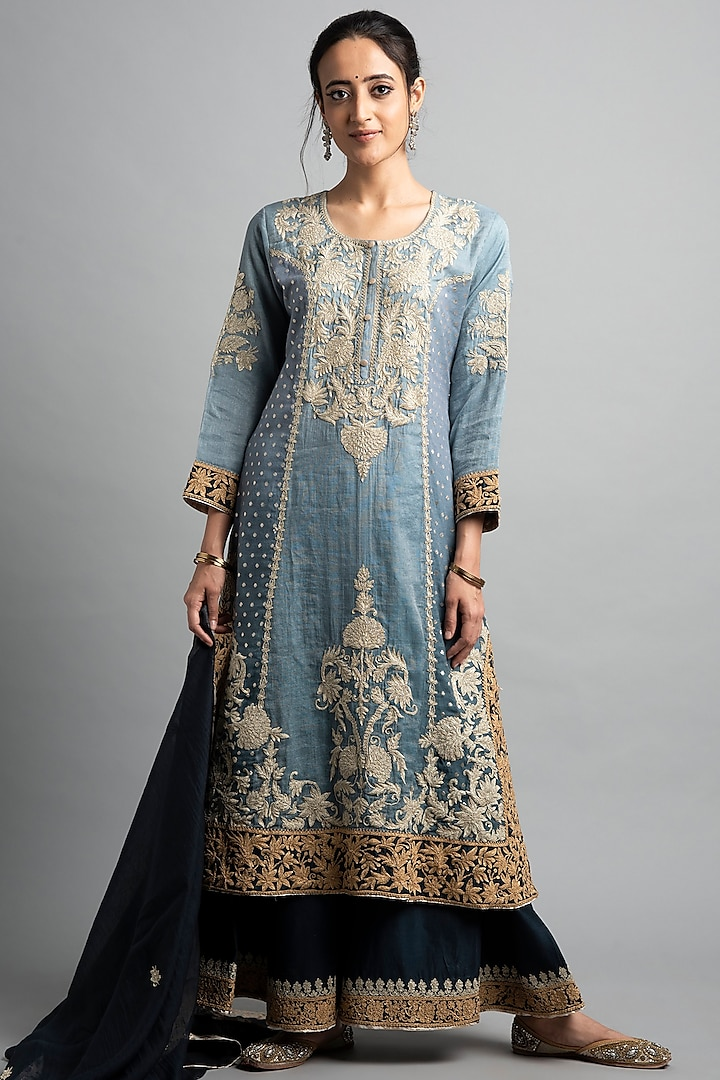Navy Blue Dori Embroidered Sharara Set by Heena Kochhar