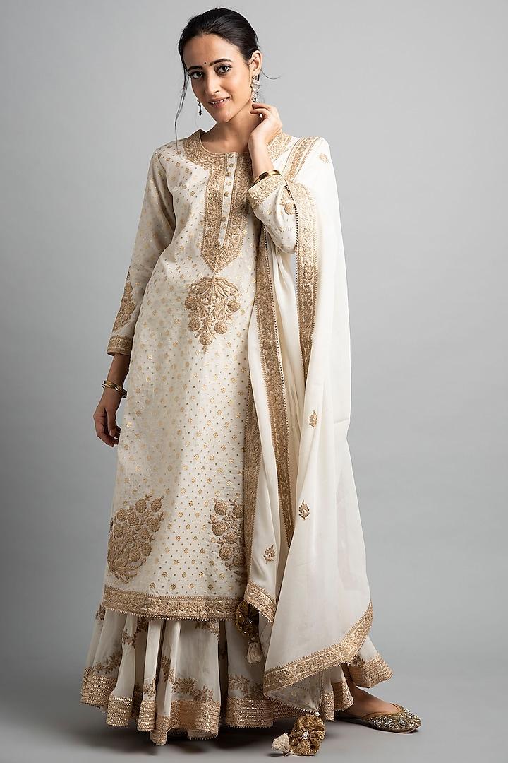 Cream Dori Embroidered Sharara Set by Heena Kochhar