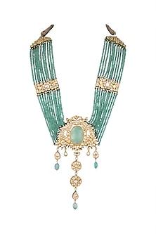 Gold Finish Fluorite Pendant Long Mala Necklace by HEMA KHASTURI LABEL