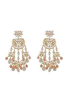 Gold Finish Fluorite & Coral Onyx Drop Chandbali Dangler Earrings by HEMA KHASTURI LABEL