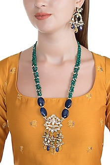 Gold Finish Green Onyx Peacock Pendant Necklace Set by HEMA KHASTURI LABEL