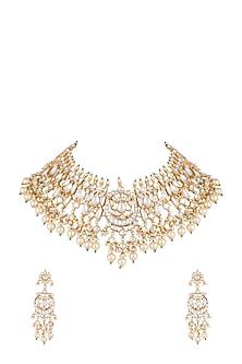 Gold Finish Kundan & Pearl Stone Bridal Shehzadi Necklace Set by HEMA KHASTURI LABEL