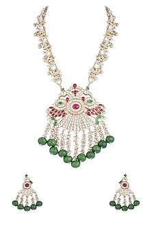 Gold Finish Green Onyx Peacock Shehzaadi Mala Necklace Set by HEMA KHASTURI LABEL