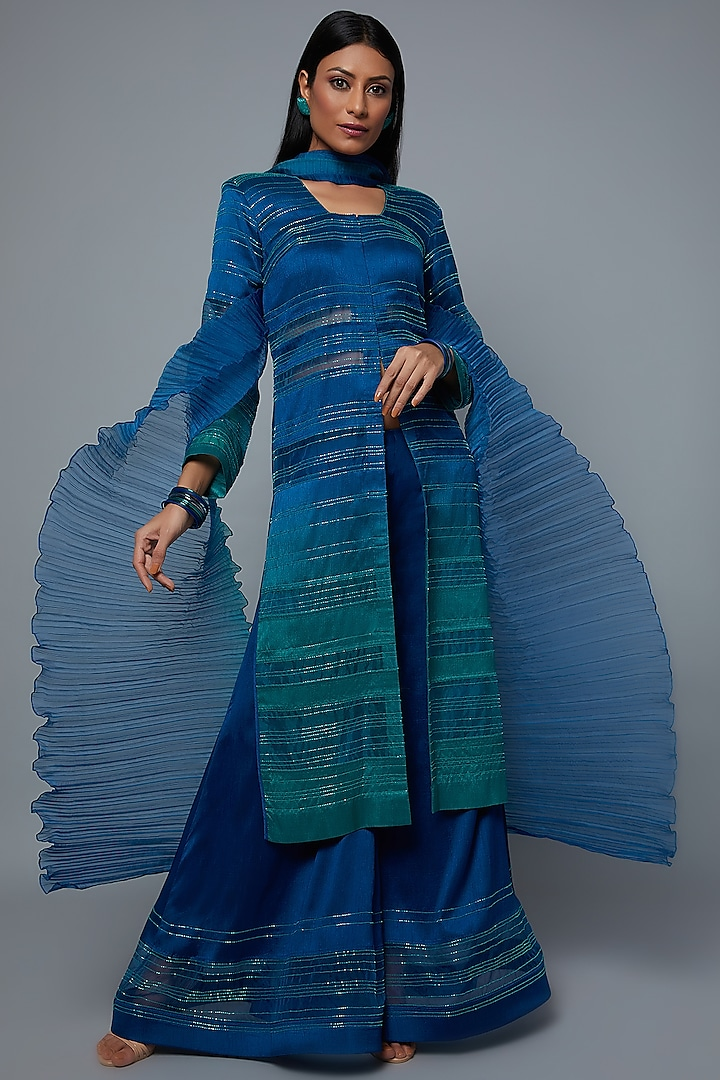 Aqua & Royal Blue Ombre Embroidered Tunic Set by Hemant Trevedi