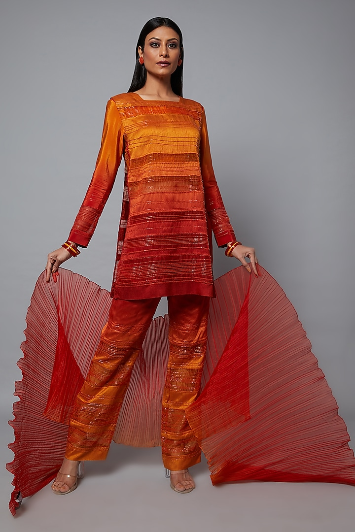 Rust & Mustard Ombre Embroidered Tunic Set by Hemant Trevedi