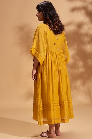 Mustard Embroidered Maxi Dress by Half Full Curve