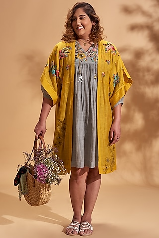Mustard Embroidered Jacket by Half Full Curve