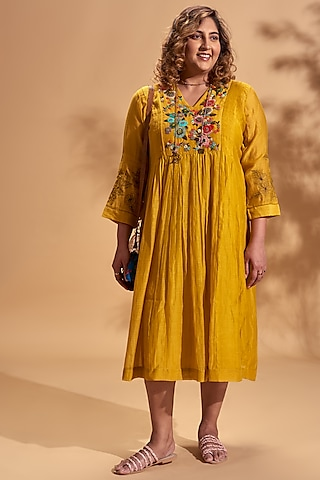 Mustard Embroidered Midi Dress by Half Full Curve