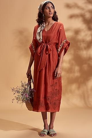 Rust Orange Embroidered Midi Dress by Half Full Curve