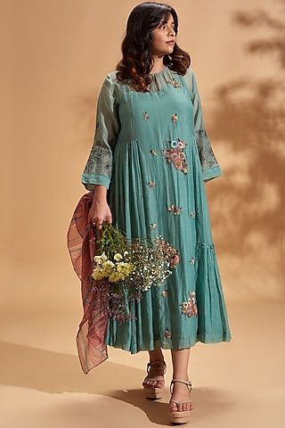 Cobalt Blue Floral Midi Dress by Half Full Curve