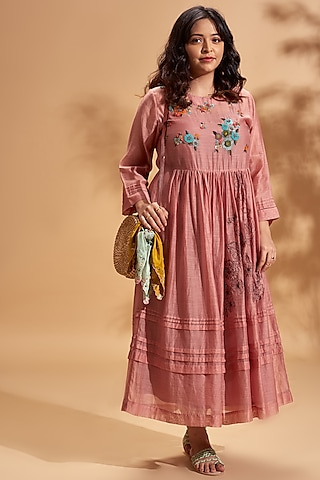 Blush Pink Embroidered Midi Dress by Half Full Curve