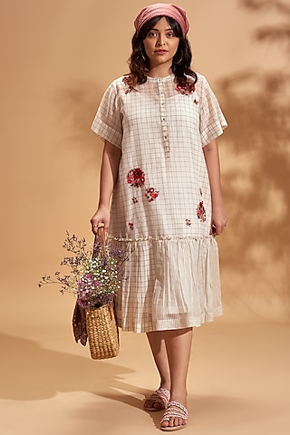 Off White Embroidered Midi Dress by Half Full Curve