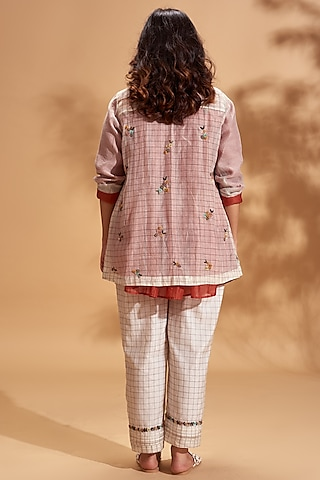 Off White Embroidered Jacket by Half Full Curve