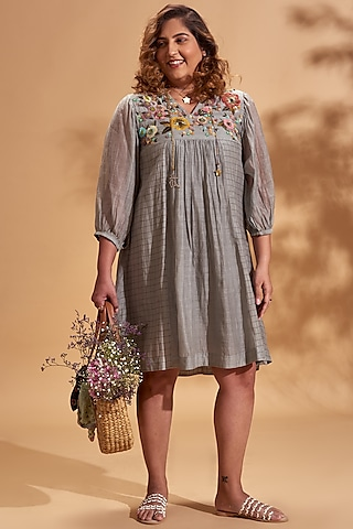 Grey Embroidered Mini Dress by Half Full Curve